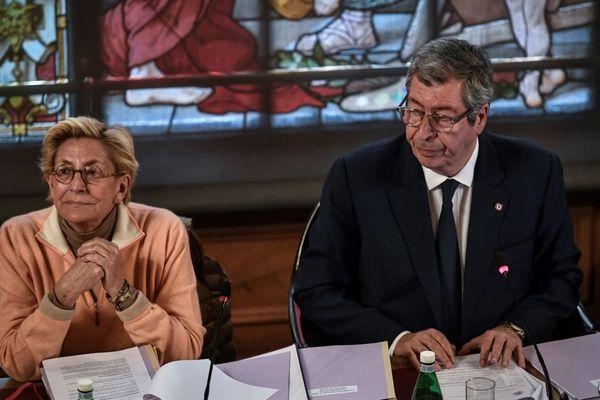 Isabelle et Patrick Balkany, lors d'un conseil municipal à Levallois en avril 2019.