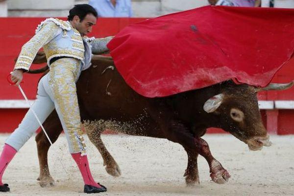 L'Espagnol Enrique Ponce lors de la troisième corrida de la feria des vendanges de Nîmes. 19 septembre 2015.