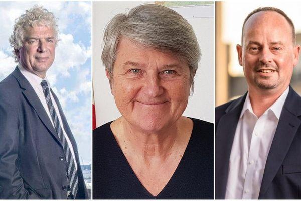 François Cuillandre (à gauche), le maire sortant sera face à Bernadette Malgorn (au centre) et Marc Coatanéa (à droite) pour le débat du 2e tour des municipales de Brest