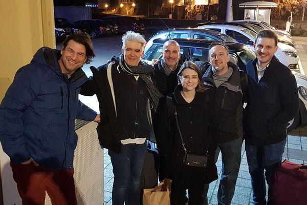 Steve Haines, Erwan Boivent, Stéphane Stanger, Ariel Pocock, Chad Eby et Thomas Heflin à Granville le 7 mars 2020 lors de leur tournée.