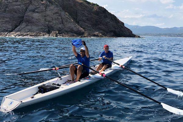Déchets plastiques, opération mer propre à Pinarello (Corse du Sud) dimanche 8 juillet.