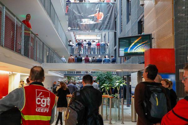 Piquet de grève des salariés sur le site de Belfort, le 10 octobre 2019.