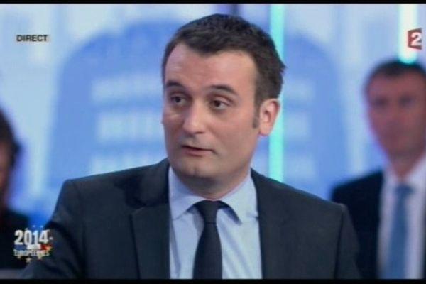 Florian Philippot le 25 mai 2014 sur le plateau de France 2 lors de l'émission spéciales Elections Européennes