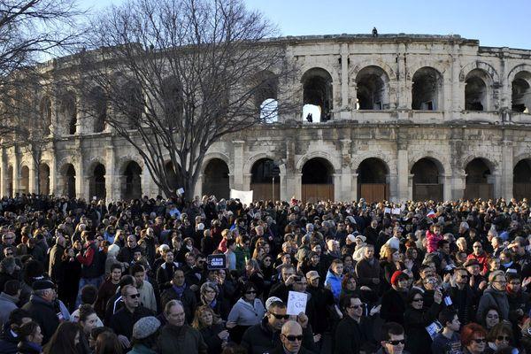 """Le 11 janvier 2015, à Nîmes, ils sont près de 50.000 dans les rues pour """"Charlie""""."""