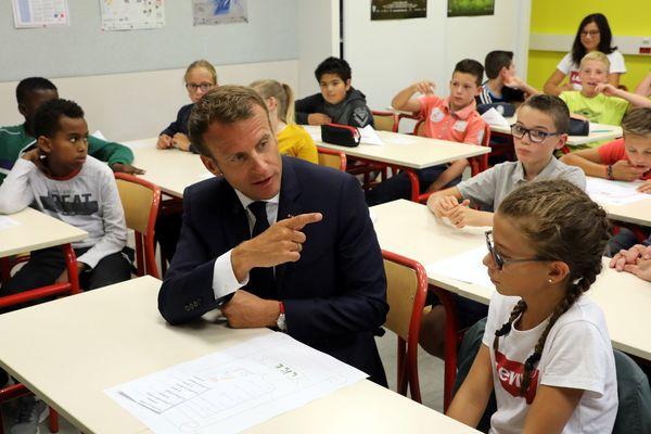 Emmanuel Macron au collège Jules Renard de Laval, le 3 septembre 2018