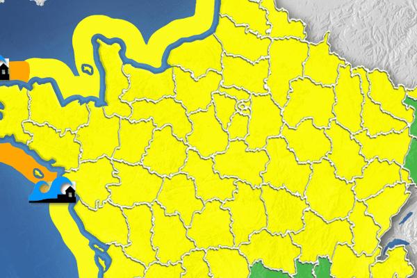 Le Finistère, le Morbihan et la Loire Atlantique sont placés en vigilance orange pour risque de submersion des côtes vulnérables par la forte mer.