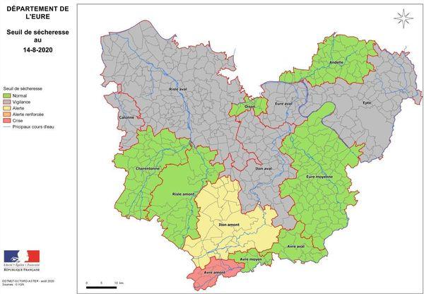 Carte de l'état  de la sécheresse dans l'Eure au 14 août 2020