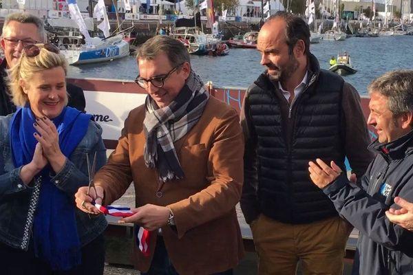 Luc Lemonnier, maire du Havre le 28 octobre 2017 lors de l'inauguration du village de la Transat Jacques Vabre en présence du Premier ministre Edouard Philippe