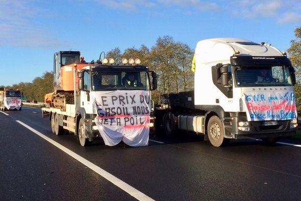 Manifestation des routiers contre la hausse du gasoil en 2018 à Saint-Brieuc