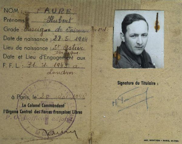 La carte d'identité d'Hubert Faure, établie par l'organisation des forces françaises libres en 1946.