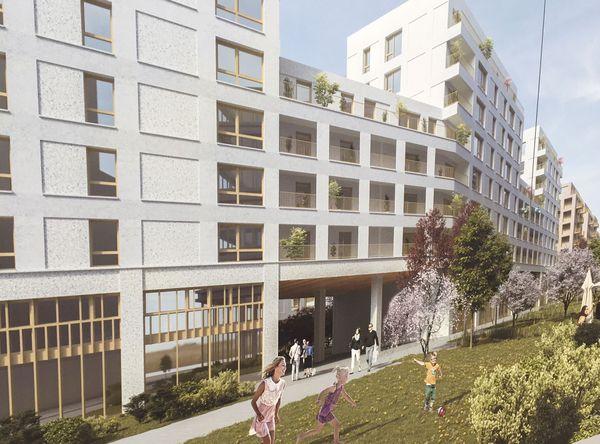 L'un des visuels sur les palissades du chantier de l'éco-quartier