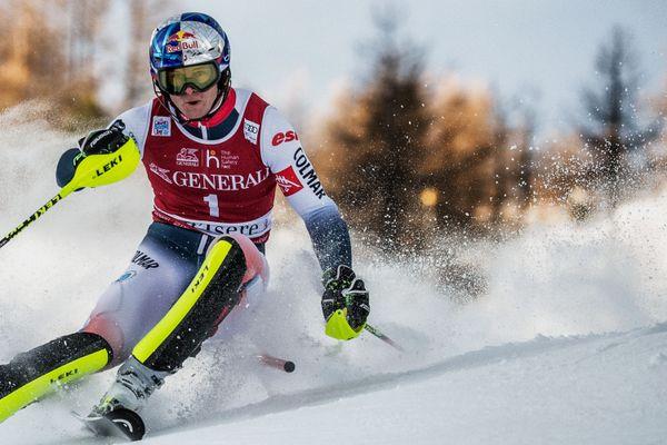 Alexis Pinturault lors de la Coupe du monde de ski alpin le 15 décembre 2019 à Val d'Isère (Savoie).