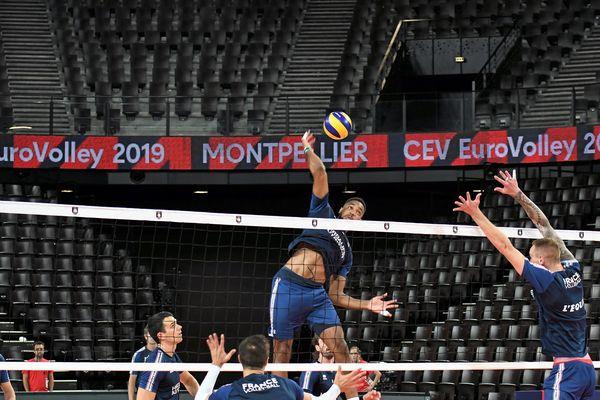 L'équipe de France de Volley-ball à l'entraînement pour préparer l'Euro, à l'Aréna de Montpellier, le 11. 09. 2019.