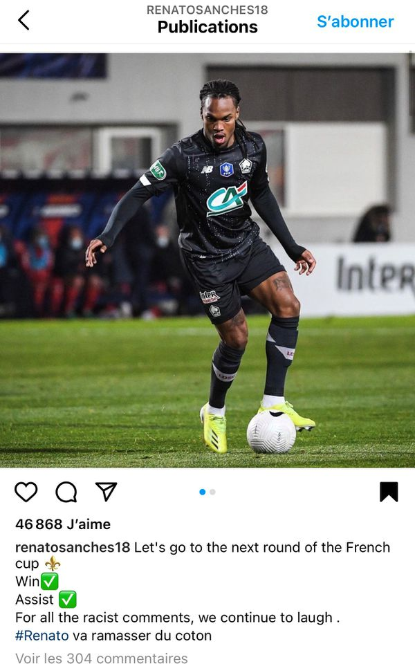 Le post Instagram de Renato Sanches.