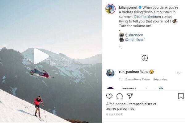 Un wingsuiter a réalisé une performance impressionnante, frôlant Kilian Jornet de quelques mètres.
