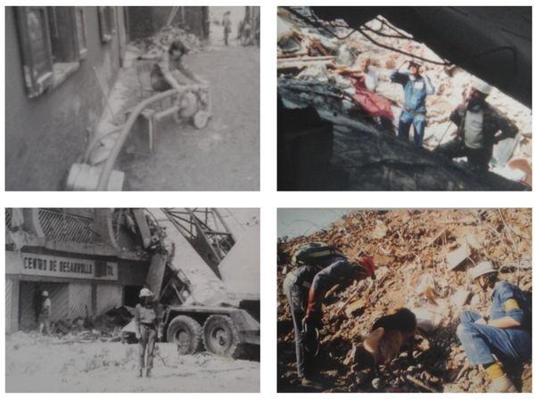 A gauche, Mexico en 1985. A droite en haut, en Algérie en 2005. A droite en bas : Le Caire en 1992. Catherine Hugary sur tous les fronts...