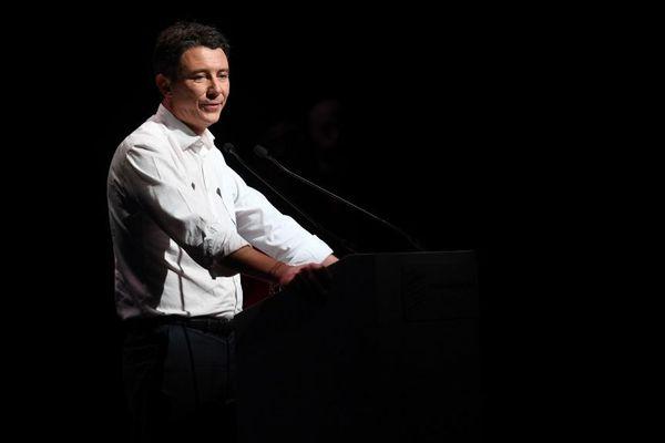 Le candidat LREM aux municipales parisiennes, Benjamin Griveaux, en meeting au théâtre Bobino le 27 janvier 2020.