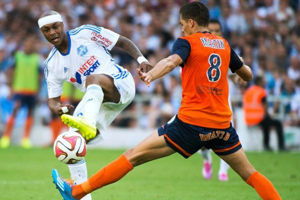 André Ayew a été blessé au cuir chevelu en première période du match OM-Montpellier