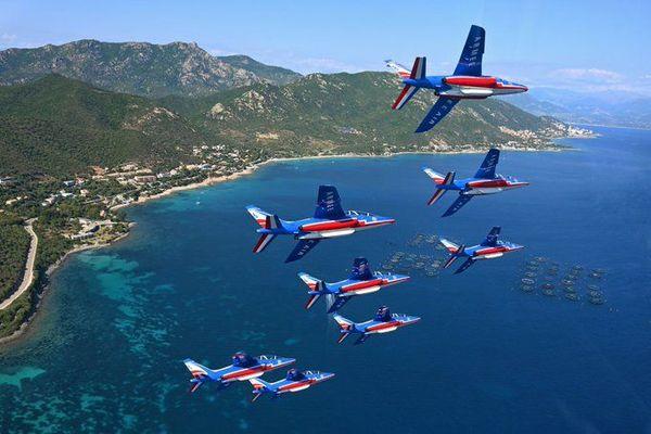 La patrouille de France a effectué une semaine d'entraînement sur la base aérienne de Ventiseri entre le 29 juin et le 3 juillet.