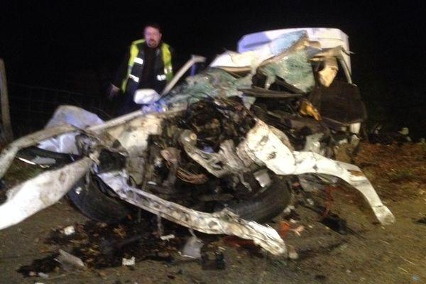 Photo prise après l'accident mortel à Voutezac en Corrèze