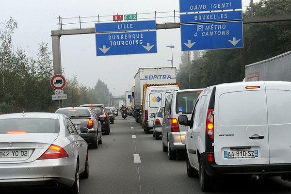 Plusieurs kilomètres de bouchons se sont formés sur l'A1. (illustration)