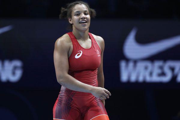 La Francilienne (Essonne) Koumba Larroque lors des Championnats du monde de lutte féminine à Paris en août 2017.