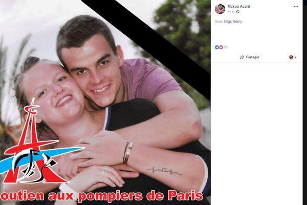 Maxime Acard pompier blessé à Paris le 12 janvier 2019.