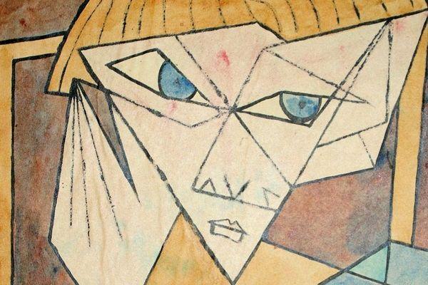 Portrait de Thomas Harlan, 1952, gouache de Marc Sabathier Levêque.