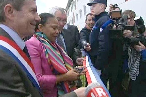 Christiane Taubira inaugure le centre de détention de Condé-sur-Sarthe, 30 avril 2013