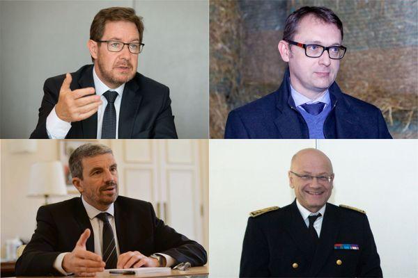 De gauche à droite et de haut en bas : les actuels préfets de Côte-d'Or, du Territoire de Belfort, du Jura et de Saône-et-Loire.