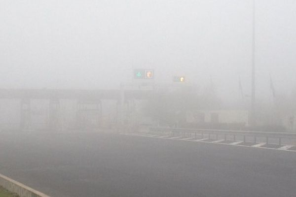 Un brouillard épais aux abords de Gannat, sur l'A71 (dimanche 17 novembre 2013).