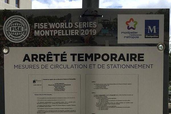 Montpellier - circulation et stationnement très perturbés autour des rives du Lez - 2019.