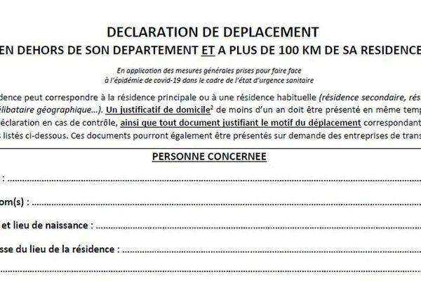 La nouvelle déclaration de déplacement a été mise en ligne hier à 22 heures par le gouvernement