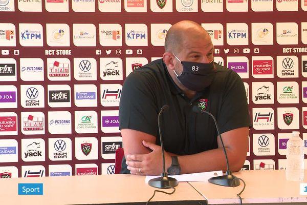 Patrice Collazo, manager général du RCT, lors de la conférence de presse du 3 septembre 2020 avant le match La-Rochelle-Toulon (Top 14).
