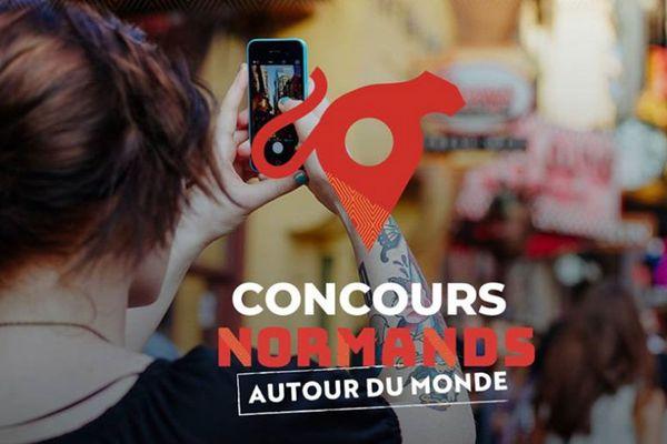 """Un des visuels de la campagne de communication du concours """"Normands autour du monde"""""""