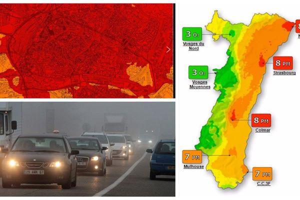 Prévision de la pollution à Strasbourg le 9 février (en haut à gauche), prévision de la qualité de l'air en Alsace le 9 février (à droite) et image d'illustration