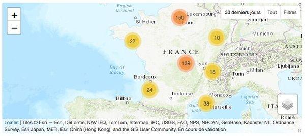 La carte ci-dessus représente les signalements de frelons en France réalisés dans les 30 derniers jours avant la rédaction de cet article via le formulaire du site frelonasiatique.mnhn.fr et leur statut de validation.