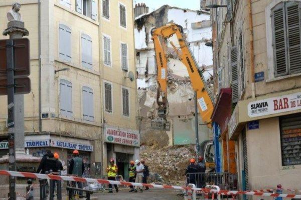 Les lieux de l'effondrement d'immeubles, rue d'Aubagne