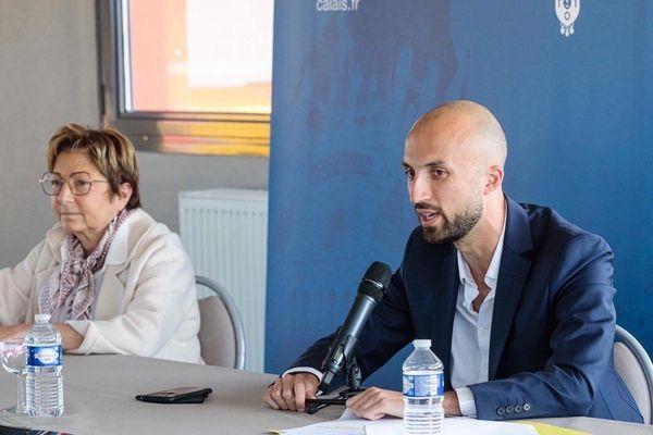 Baptiste Vendroux lors de la conférence de presse au stade de L'Epopée à Calais, jeudi.