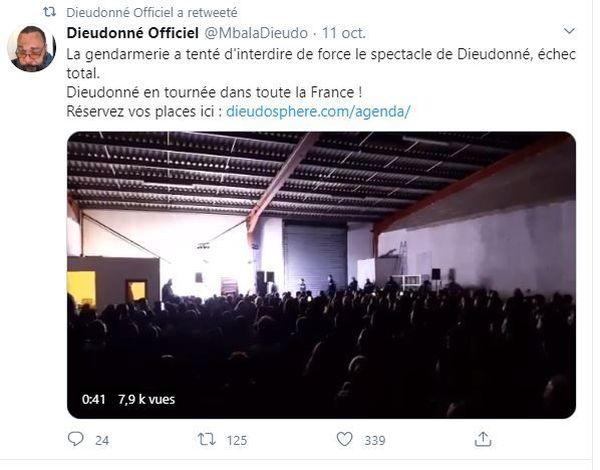"""Dans ce tweet, Dieudonné annonce que la gendarmerie a """"tenté d'interdire de force"""" son spectacle."""