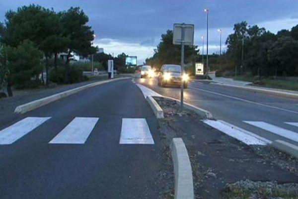 Le lieu de l'accident mortel route de Sète à Agde