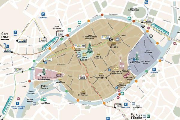 La carte détaillée des accès, axes de transports, etc. de l'édition 2018 du marché de Noël de Strasbourg.
