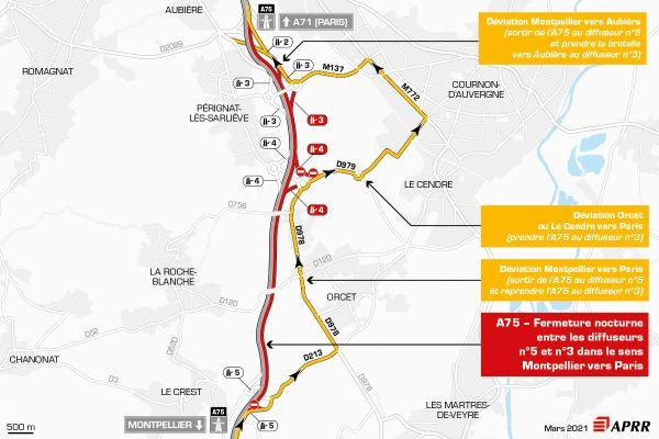 Fermeture de l'A75 entre le diffuseur n°5 Jonchère et le diffuseur n°3 Zénith dans le sens Montpellier vers Paris.