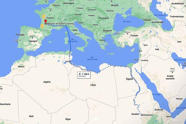6 610 kilomètres entre la capitale du Soudan, Khartoum, et Mauzac-et-Grand Castang, le périple effectué par Noureldien Daoud