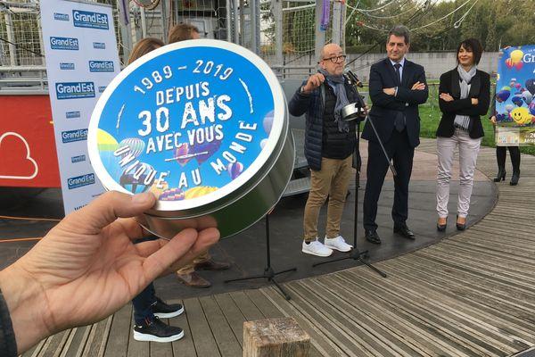 Conférence de presse pour les 30 ans du désormais Grand Est Mondial Air Ballons (#GEMAB19) à Paris, le 17/10/2018. De gauche à droite,  Philippe Buron-Pilâtre, directeur-fondateur de la manifestation, Jean Rottner, président de la Région Grand Est et Lise Roseleur, conseillère régionale et maire de Chambley (Meurthe-et-Moselle)