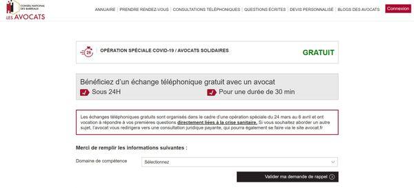 La plateforme avocat.fr a été mise en ligne le 24 mars 2020.