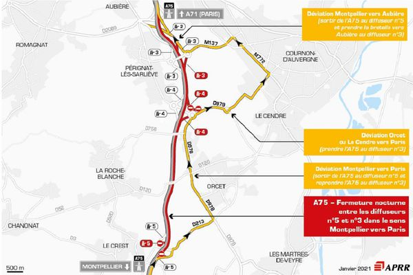 La circulation sera déviée près de Clermont-Ferrand le 3 février sur l'autoroute A75.
