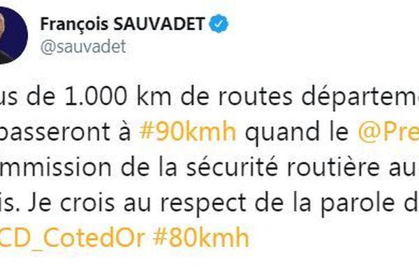 """François Sauvadet affirme que """"plus de 1000 km de routes départementales repasseront à 90km/h"""""""