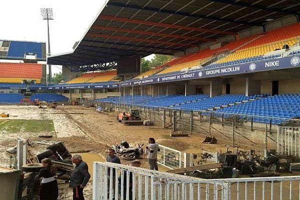 Montpellier - le stade de La Mosson après sa 2e inondation en une semaine - 7 octobre 2014.
