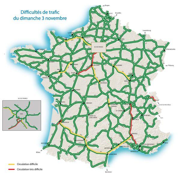 Les difficultés de trafic du dimanche 3 novembre, par Bison Futé.